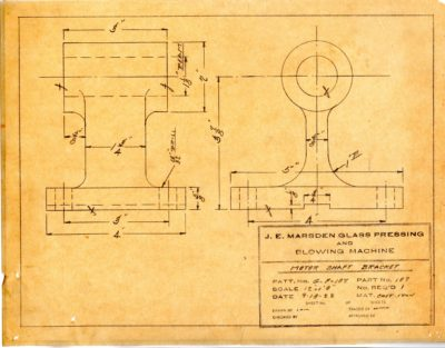 Marsden Glass Machinery Dwg #4128_42 Motor Shaft Bracket 9_18_1922