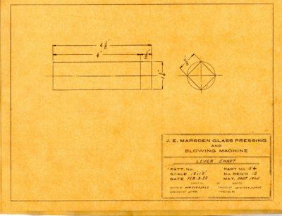 Marsden Glass Machinery Dwg #4128_44 Lever Shaft 2_3_1922