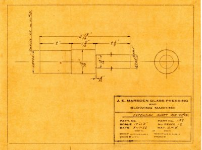 Marsden Glass Machinery Dwg #4128_47 Extension Shaft for PC #131 3_17_1922