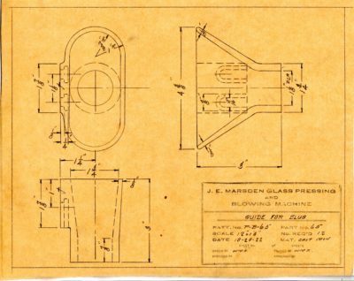 Marsden Glass Machinery Dwg #4128_50 Guide for Slug 10_20_1922