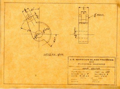 Marsden Glass Machinery Dwg #4128_51 Gear Sector 9_18_1922