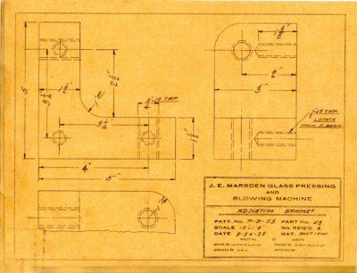 Marsden Glass Machinery Dwg #4128_52 Adjusting Bracket 3_24_1922