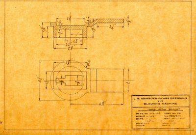 Marsden Glass Machinery Dwg #4128_53 Mould Spray Bracket 10_4_1922