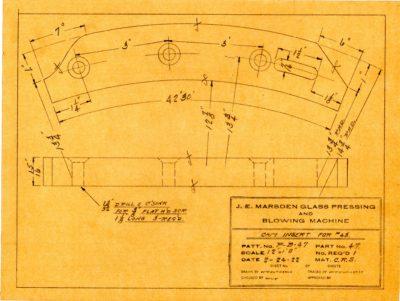 Marsden Glass Machinery Dwg #4128_54 Cam Insert for #43 2_24_1922