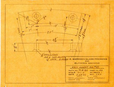 Marsden Glass Machinery Dwg #4128_55 Cam Insert for #37 2_23_1922