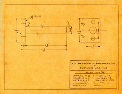 Marsden Glass Machinery Dwg #4128_57 Pilot for #33 3_4_1922